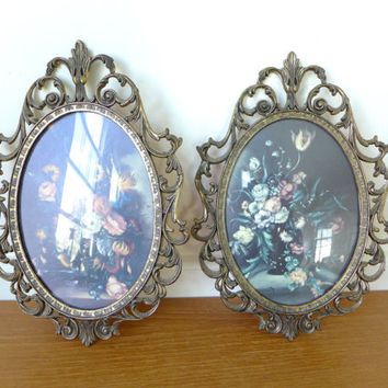 Italian bubble glass filigree frames, marked made in Italy, 7 by 10 inches