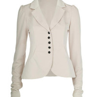 Beige Fitted Blazer Jacket - Clothing - desireclothing.co.uk