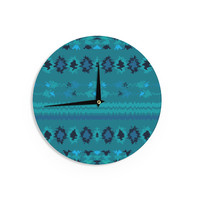 "Nina May ""Turquoise Nava"" Teal Tribal Wall Clock"