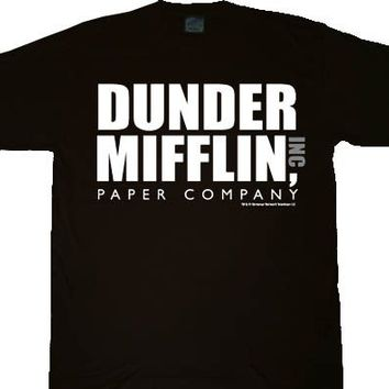 The Office Dunder Mifflin INC Paper Company Logo Black T-shirt