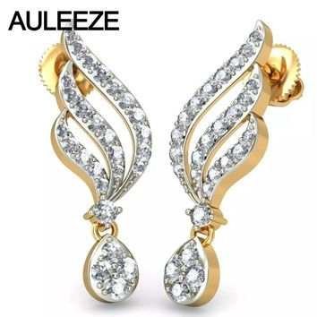 14KT Yellow Gold Real Natural Diamond Feather Drop Earrings