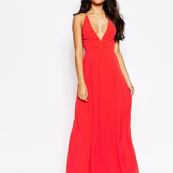 ASOS Deep Plunge Cami Maxi Dress at asos.com