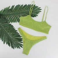 Smocked Cheeky Brazilian Bikini Set - Green