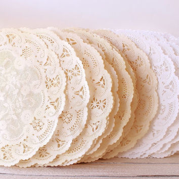 Rustic Doily Doilies, Rustic Wedding, Bridal Shower, Vintage Wedding, French Lace Doily, Paper Doily, Fall Decor, Scrapbooking, Gift Wrap