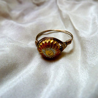 Orange Daisy Ring  Wire Wrapped by asterflowerdesigns on Etsy