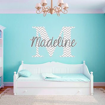 Personalized Chevron Pattern Print Name Monogram