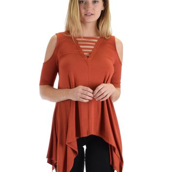 SL5090 Rust Cold Shoulder Hlad Sleeve Top Handkerchief Bottom And Front Straps