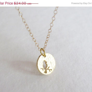 New Year Sale Small Gold Bird Coin Necklace - 14k Gold Filled Chain - Charm Necklace - Gold Charm Necklace - Dainty Necklace