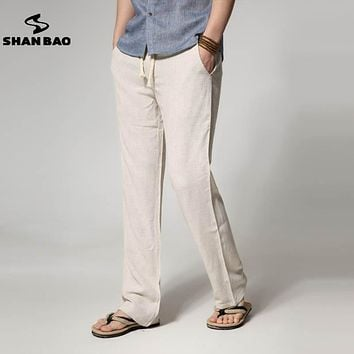 SHAN BAO brand men's thin section loose straight men's linen casual pants 2017 summer large size solid color trousers 6 colors
