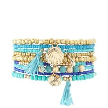 Multi Stackable Beaded Stretch Bracelets - 9 Pack by Charlotte Russe