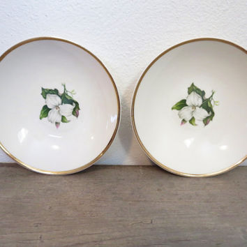 Small Vintage Bowl / Boho Bowls / China Bowl / Set of 2 Bowls / Jewelry Storage / Antique Porcelain Bowls / Floral Bowl