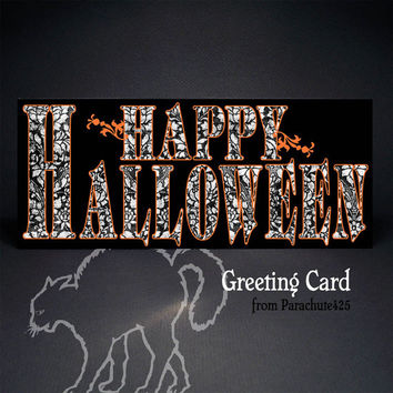 HAPPY HALLOWEEN Greeting Card, Halloween card, no 10, black orange white, typography card, goth