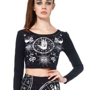 ESBONIS Jawbreaker Gothic Occult Astrology Wicca Witch Cropped Top Shirt (L)