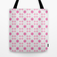 Pink floral on grey Tote Bag by cycreation