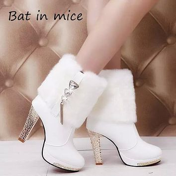 B.I.M.2017 High Heels Rabbit Fur Boots Women's Plush Warms Platform Ankle Boots Shoes Women's Wedding Shoes Black White S044