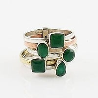 Emerald Sterling Silver Two Tone Stack Ring