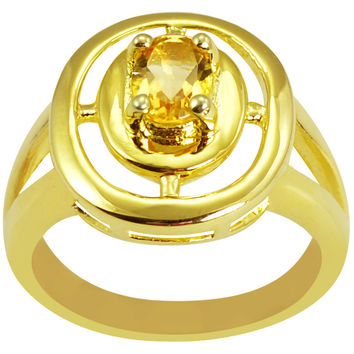 0.67 CTTW Genuine Citrine 10K Yellow Gold Plated Beautiful and Stylish Ring in Sterling Silver