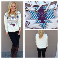 Aztec Lace Up Sweater