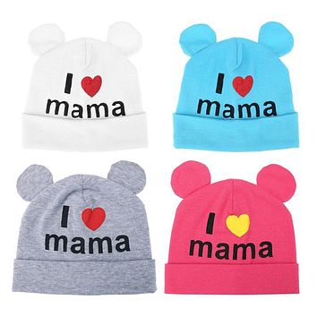 Baby Boys Girls Hat Newborn Baby Cotton Beanies I Love Mama Print Caps Hats Baby Girls Knitted Winter Warm Cap