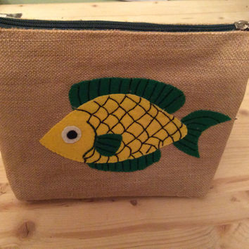 Yellow green fish hand appliqued on  Jute zippered, handmade  clutch, one of a kind, accessories  organizer, pencil. cosmetics,