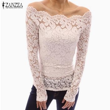 SHIRT Sexy Women Blusas Off Shoulder Slash Neck Lace Solid Shirts Long Sleeve Slim Casual Tops Blouse