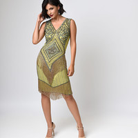Preorder -  Iconic by UV Green & Gold Beaded Chiffon Georgette Flapper Dress