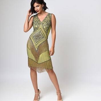 Iconic by UV Green & Gold Beaded Chiffon Georgette Flapper Dress