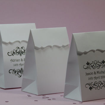 12 BRACKET EDGER - Personalized Wedding Favor Bag-Custom Favor Bags-Candy Buffet Favor Bags-Treat Bags-Bridal Shower Favor Bags
