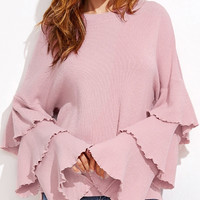 Pink Layered Bell Sleeve Ribbed Top