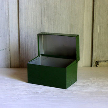industrial metal card file box green // photo box recipe box  //  4 x 6 file box // vintage office urban storage organization