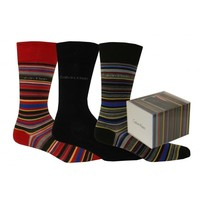 Calvin Klein 3-Pack Multi-stripe Socks Gift Box, Black/Red | UnderU