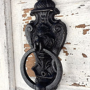 Door Knocker, French Noir, French Farmhouse, Primitive Black, Distressed And Chippy , Metal Wall Decor