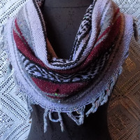 Burgundy and Lavender  Mexican Blanket Large Cowl Scarf With Fringe- Free Shipping to Continental US