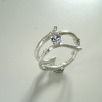 round diamond cut topaz budding twig engagement sterling silver ring