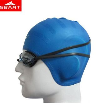 SBART Silicone Swimming Caps Unisex Waterproof Ear Protect Swimming Caps For Adult Long Hair Silicone Diving Swimming Caps
