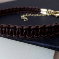 Brown Leather Bracelet: Hipster Macrame Cord Unisex Jewelry, Adjustable Men's Bracelet with Gold Clasp