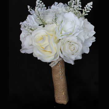 Baby's Breath, Roses and Magnolia's Wedding Bouquet Collection