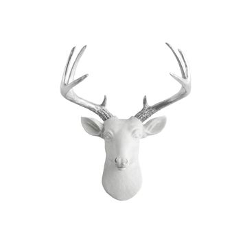 The Mini Virginia | Deer Head | Faux Taxidermy | White  + Silver Antlers Resin