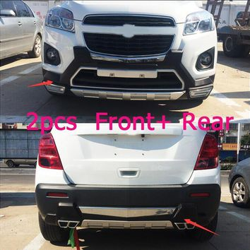 lane legend case For Chevrolet TRAX 2014-2016 Front+ Rear Bumper Diffuser Bumpers Lip Protector Guard skid plate Chrome finish