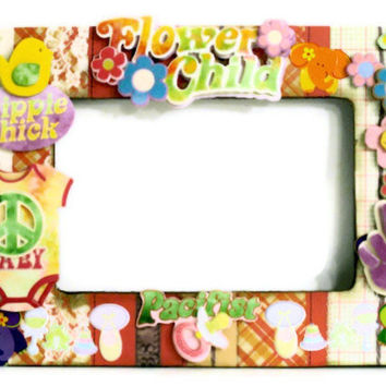 Decorative Picture Frame Collage - Nursery Decor Baby Girl (Hippie / Boho / Embellished) Flower Child Elephants