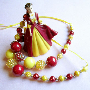 Princess Belle necklace, Disney, Beauty and the Beast, Disney Princess necklace, Ribbon necklace, Girls gift, Birthday gift for girl.