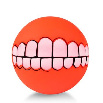 Cute Pet Product Pet Ball Toys  Funny Ball Teeth Silicon Toy Chew Sound Dogs Play Toys Squeaker Squeaky Sound Ball