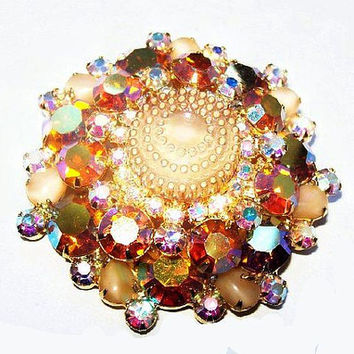 "Juliana D&E Brooch Confirmed Yellow Cake Bead Givre Rhinestones Gold metal 2.5"" Vintage"