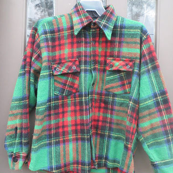 Vintage Retro 1950s  Hunting Jacket/CPO/Shirt Jacket  Plaid   anchor buttons sz large