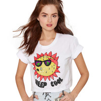 Cropped T-shirt with Sunflower Print