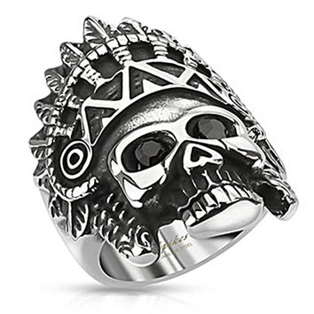 Spikes Stainless Steel Apache Headdress CZ Skull Biker Ring