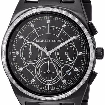 New Michael Kors Vail Black Ion-Plated Women's Baquette Crystal Watch MK6423