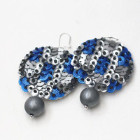 Metal look Earrings - Blue Silver Sequin - felt embroidery chess