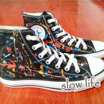 DCCK1IN splash ink wind painted shoes converse canvas shoes custom canvas shoes sneakers graff