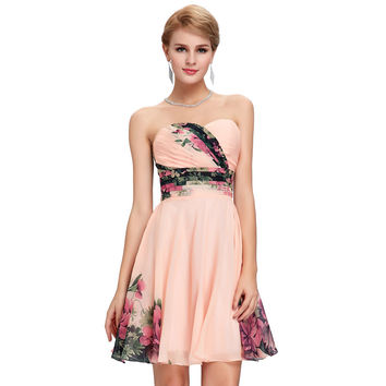 Sexy Women Floral Pattern Runway Vintage Prom dresses Short Party Gown Flower Print Formal Dresses 2017 Evening dress 7501